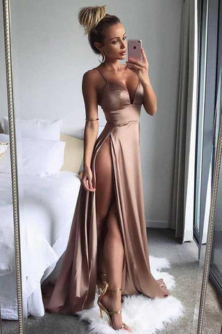 Brown Satin Thigh-High Slit Deep V-Neck Spaghetti Straps Long A-Line Prom Dresses