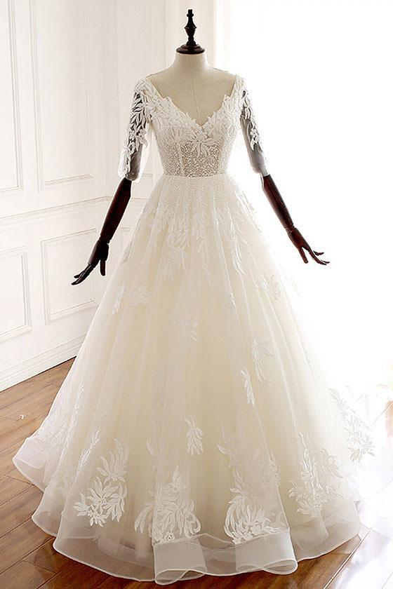 A Line Ivory V Neck Tulle Lace Half Sleeve Organza Long Prom Dresses,Wedding Dress UK PW226