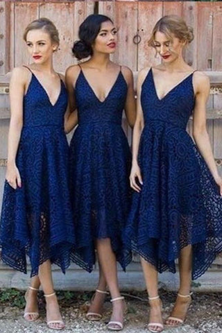 Navy Blue Deep V-neck Spaghetti Straps Sleeveless Asymmetry Lace A-line Bridesmaid Dress JS624