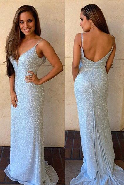 Cheap Floor-Length Sleeveless V-Neck Mermaid Backless Spaghetti Strap Prom Dresses JS615