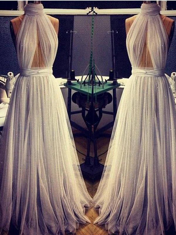 A-line Cheap Long Sexy Simple Ivory High Neck Sleeveless Tulle Prom Dresses JS301