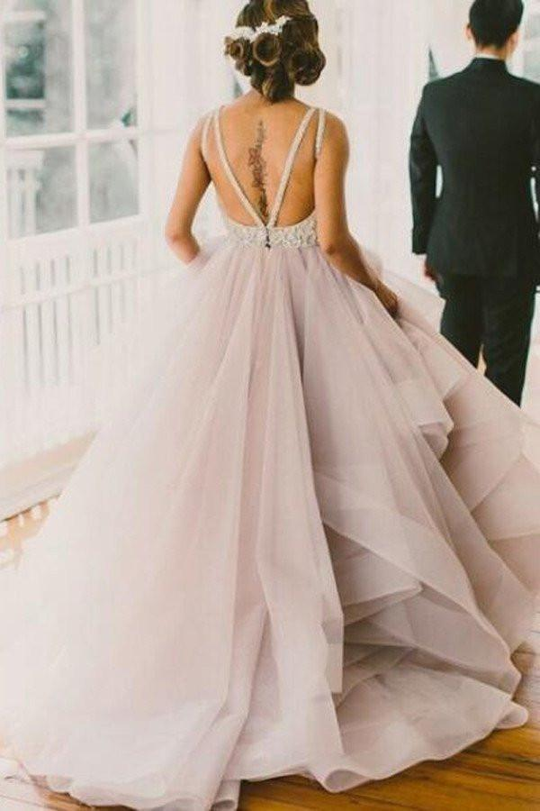 New Style Cheap Deep V-Neck A-Line Open Back Wedding Dresses