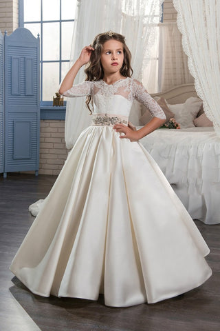 2019 New Arrival Scoop With Beading&Appliques Satin Mid-Sleeves Flower Girl Dresses