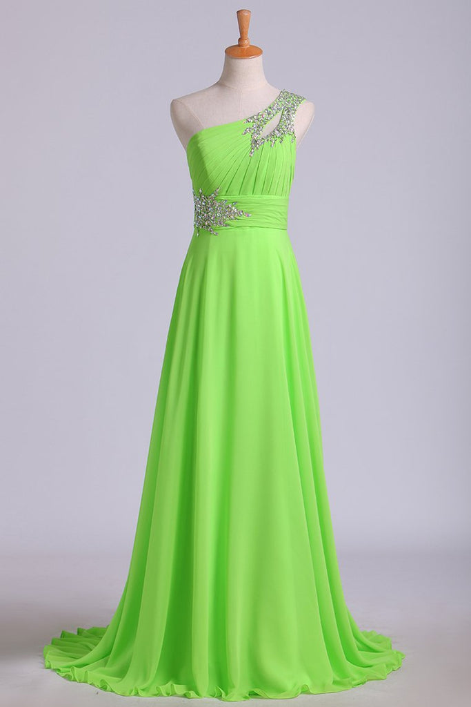 Prom Dresses A Line One Shoulder Chiffon With Beading&Sequins