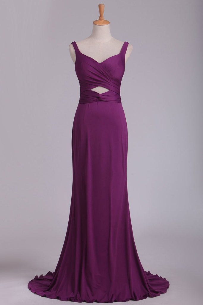 Grape Prom Dresses Straps Open Back Spandex With Ruffles Sweep Train