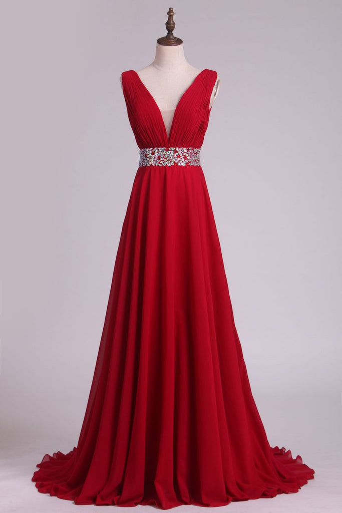 A Line V Neck Pleated Bodice Chiffon Prom Dresses With Beading Court Train