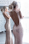 Sparkly Rose Gold Long Sheath Mermaid Open Back Prom Dresses Party Dresses