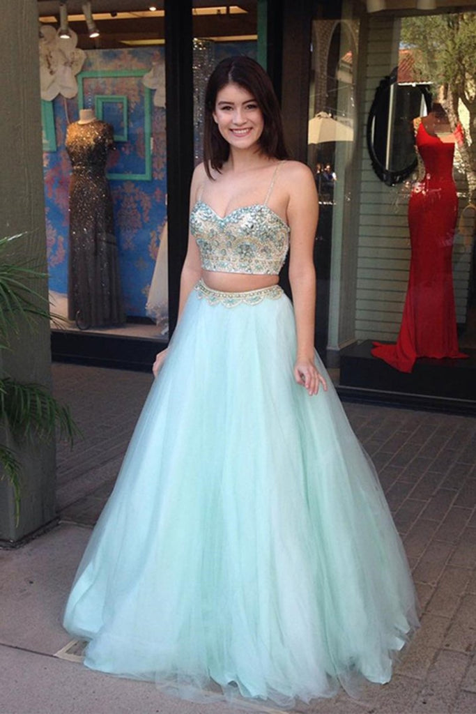 Cute Spaghetti Straps 2 Pieces Long Mint Beading Tulle Prom Gowns Prom Dresses