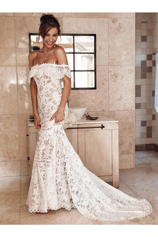 Elegant Off Shoulder Ivory Mermaid Lace Beach Wedding Dress