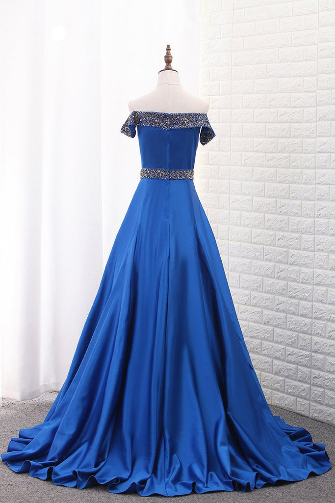 A Line Prom Dresses Boat Neck Satin With Beads Sweep Train