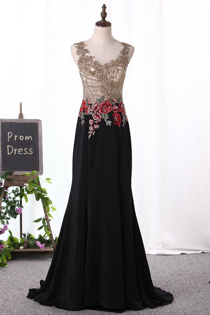 Mermaid Prom Dresses Scoop Spandex With Beads&Appliques Sweep Train