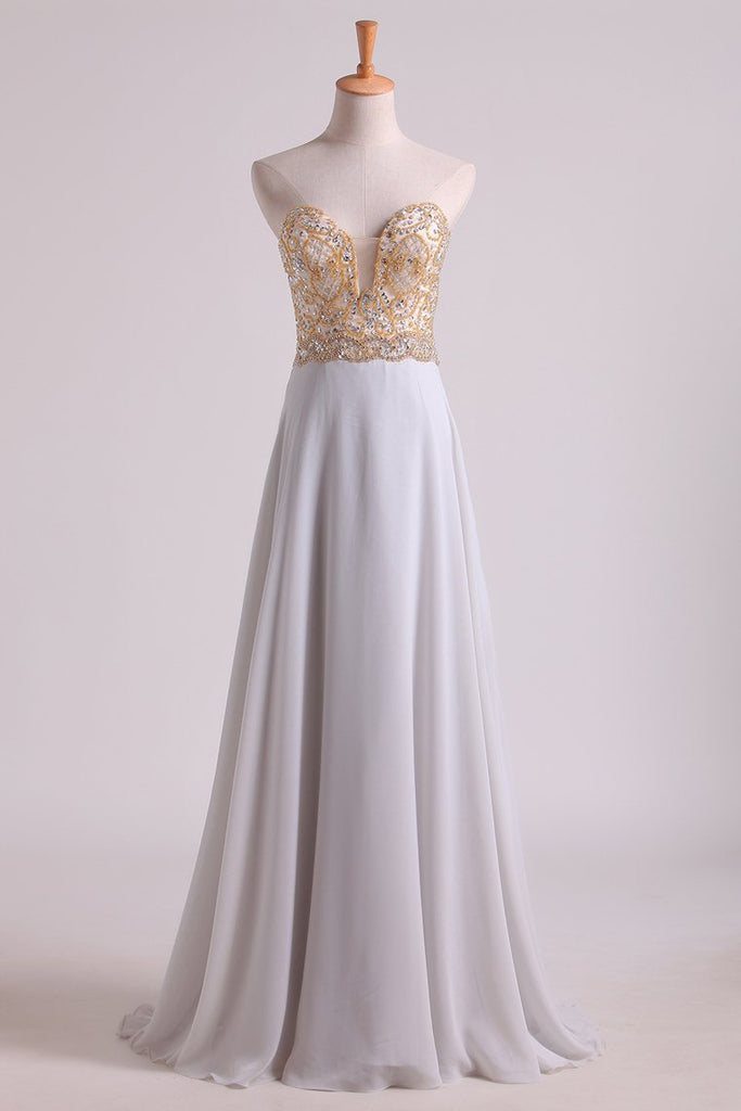 Prom Dresses Sweetheart A Line With Beads Floor Length Chiffon