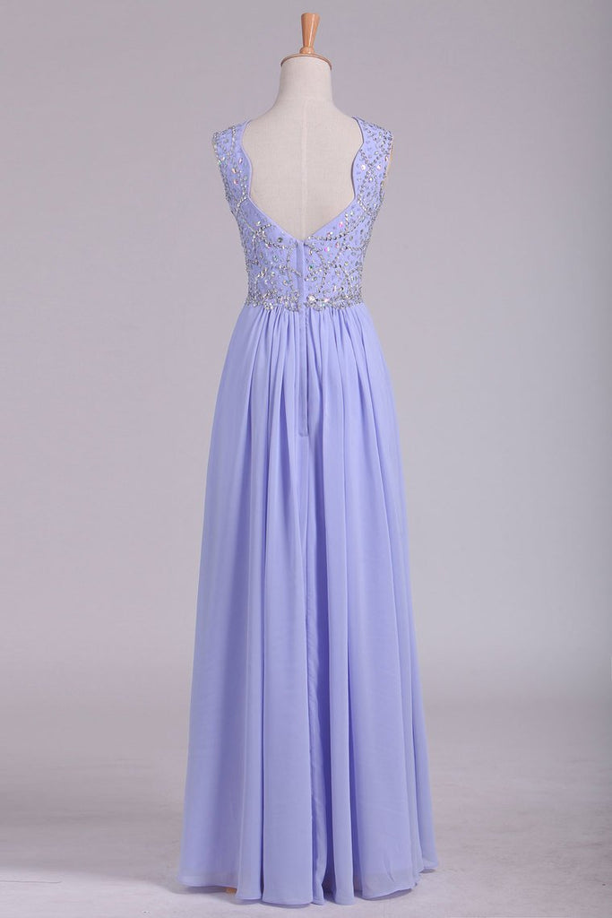 Prom Dresses A Line Straps Beaded Bodice Open Back Chiffon