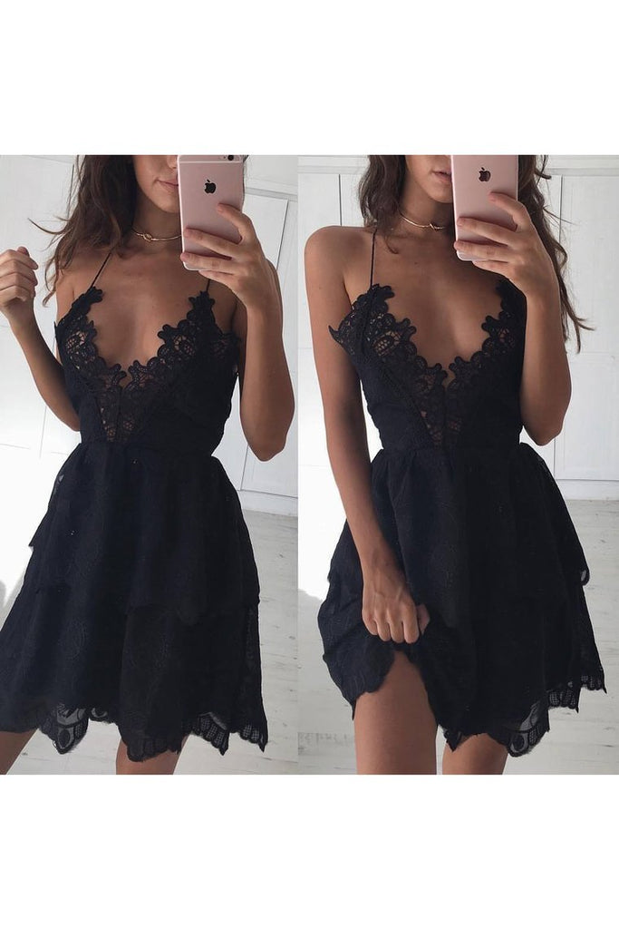Spaghetti Straps Lace Cocktail Dresses A Line Short/Mini