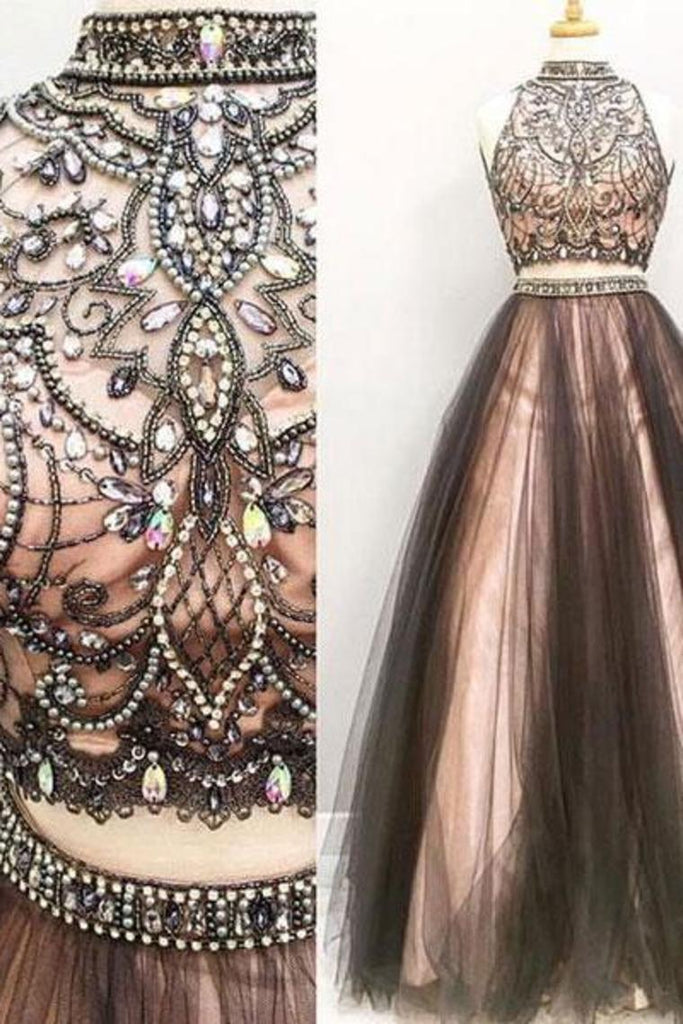 2 Pieces Long Black And Pink Modest Beading A-Line Prom Dresses