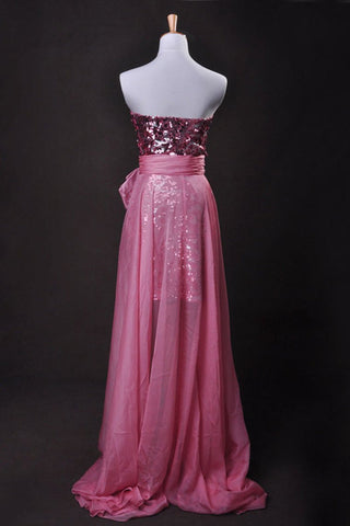 Pink  Sheath/Column Strapless Asymmetrical Chiffon Lace Cz
