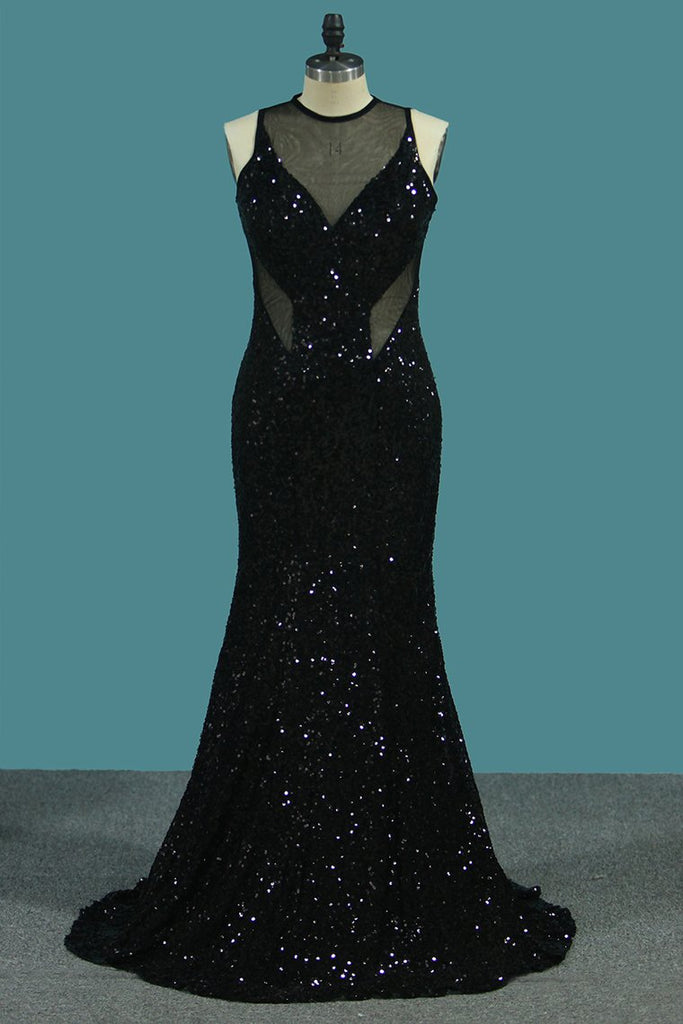 Sheath Scoop Sequined Bodice Prom Dresses Floor Length Open Back