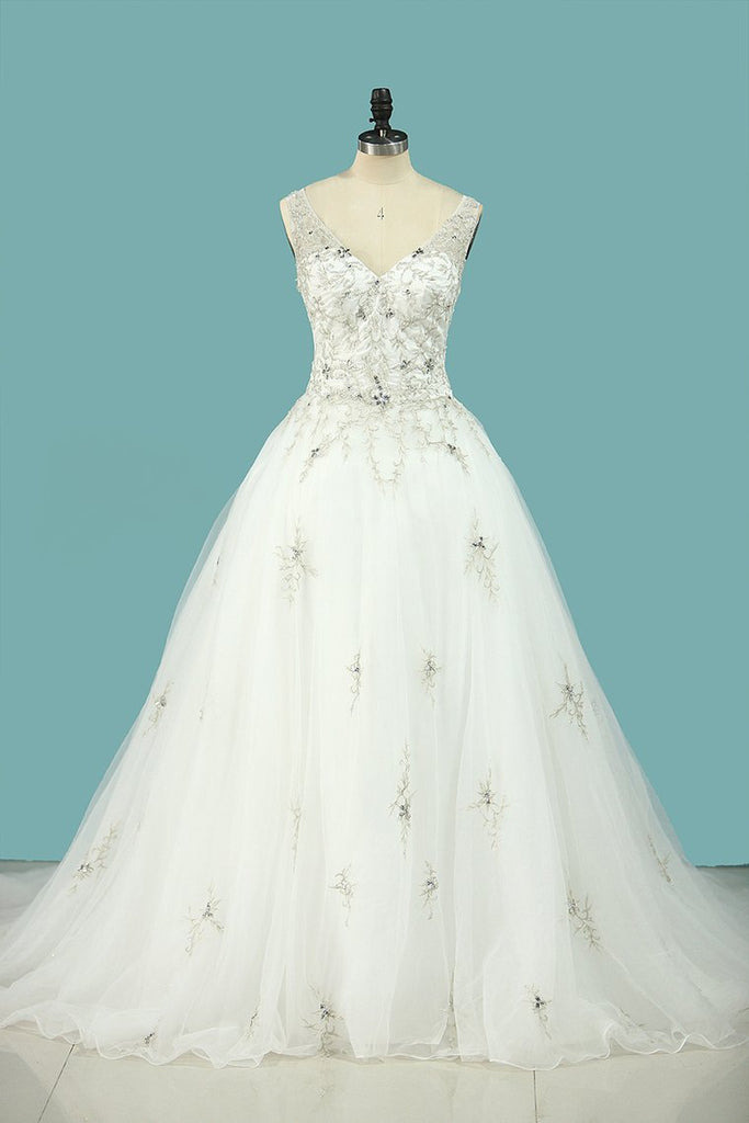 Wedding Dress V Neck Beaded Bodice A Line Tulle With Embroidery And Beads