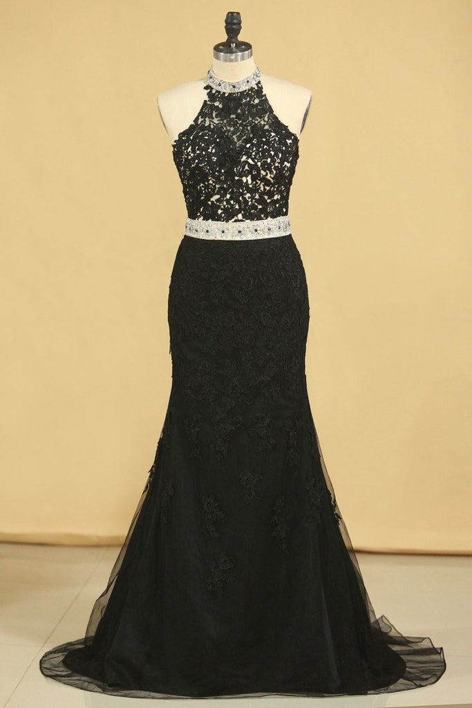 Black Plus Size Prom Dresses Mermaid High Neck Open Back Tulle With Applique & Rhinestones
