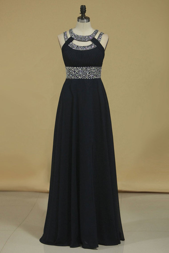 Sexy Open Back Scoop Prom Dresses A Line Sweep/Brush