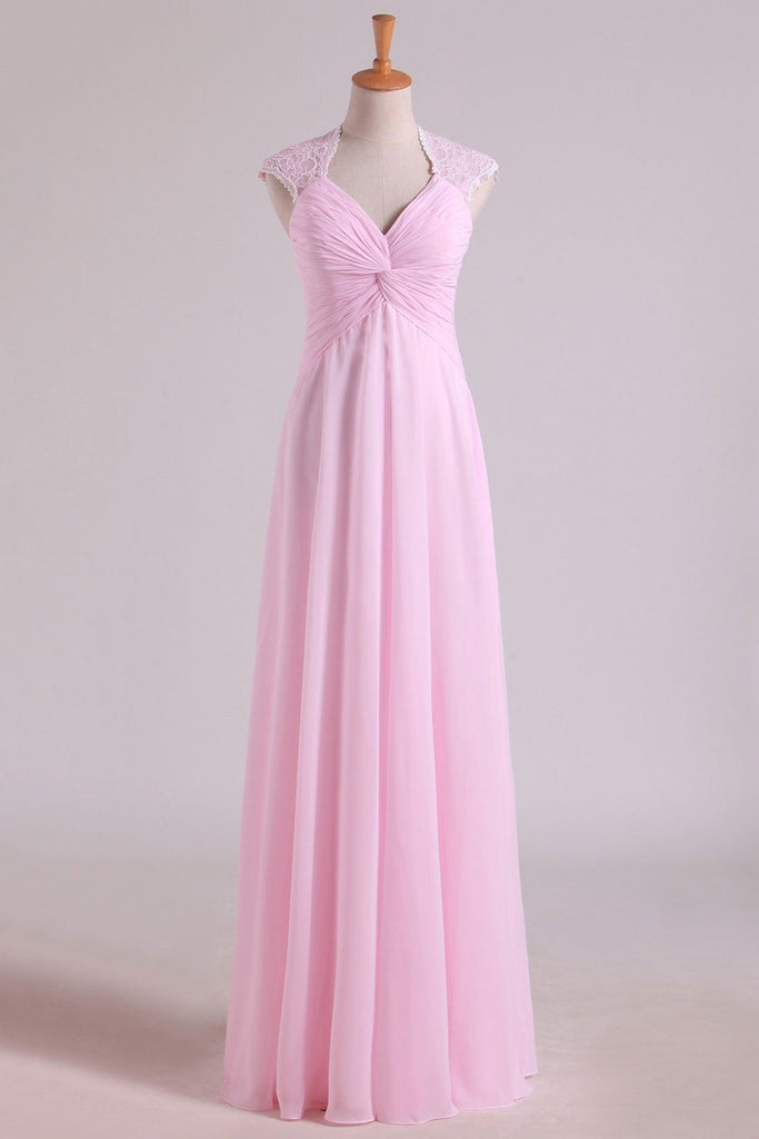 V-Neck Bridesmaid Dresses A-Line Floor-Length With Ruffles