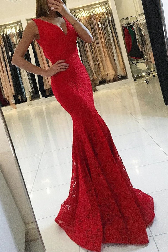V Neck Prom Dresses Mermaid Lace With Applique Sweep Train
