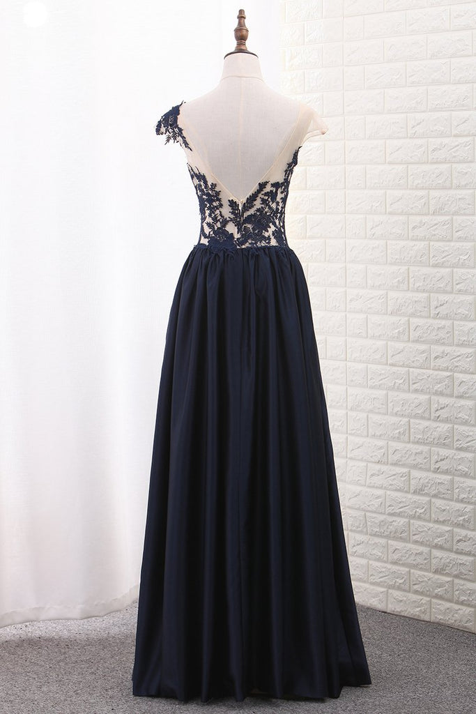 Satin A Line Scoop Cap Sleeve Prom Dresses With Applique Floor Length