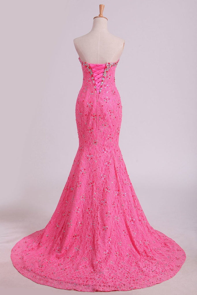 Stunning Sweetheart Mermaid Prom Dresses With Beads Floor-Length Lace