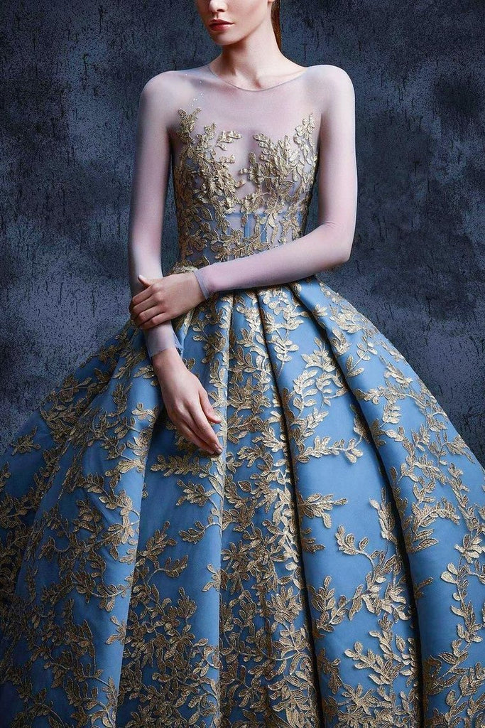 Ball Gown Prom Dresses Scoop Long Sleeves Satin With Applique Court Train
