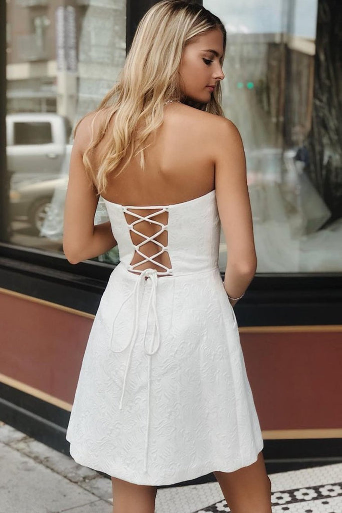Strapless Lace-Up Homecoming Party Dress With Pocket Knee Length