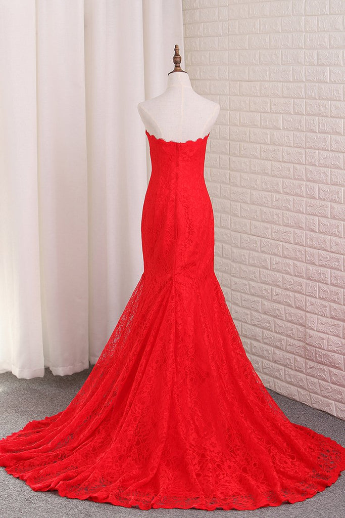 Mermaid Lace Evening Dresses Sweep Train New Arrival