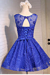 Blue Knee Length Homecoming Dresses with Beads Straps Short Prom Dresses JS803