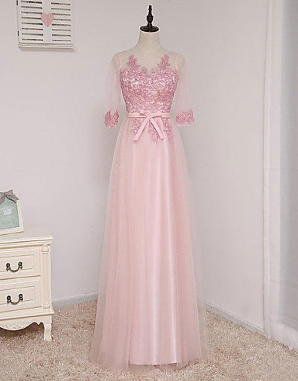 A-line Scoop Half Sleeve Lace/Applique Floor-length Prom Dresses Evening Dresses JS568