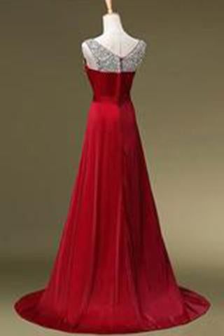 A Line O-neck Beading Long Satin Prom Dresses Evening Dresses JS496