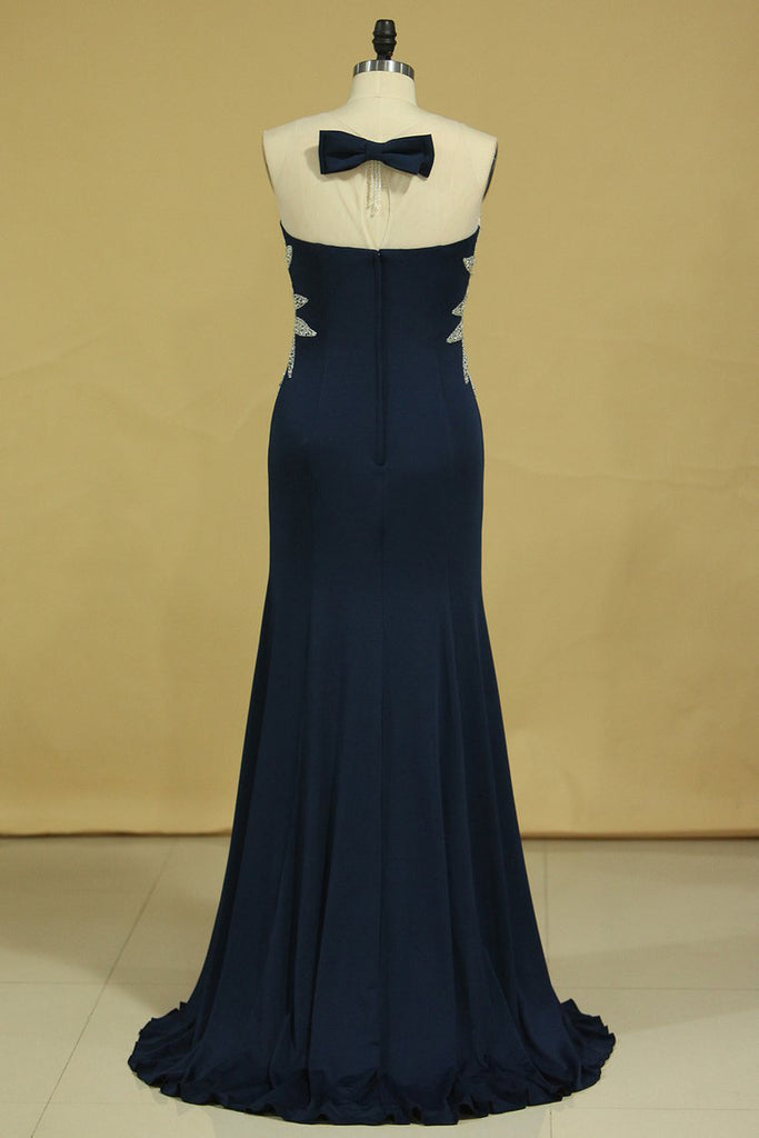 New Arrival Prom Dresses Gorgeous Mermaid Beading Illusion Floor-Length Satin Plus Size