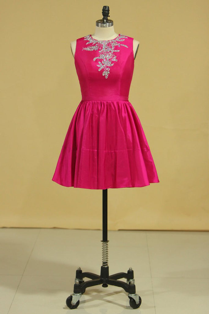 Scoop A Line Short Homecoming Dresses Taffeta Beaded With Ribbon Fuchsia