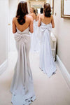 Simple Strapless Cheap Satin Bridesmaid Dress Backless Bowknot Bridesmaid Dress JS584