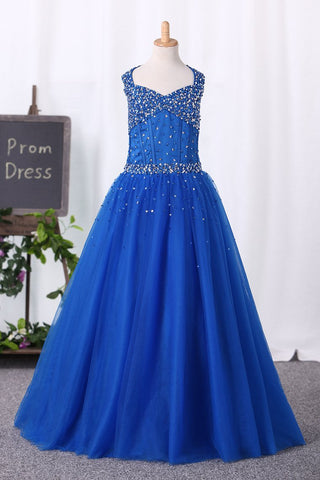 2019 Halter Ball Gown Flower Girl Dresses Dark Royal Blue With Beading