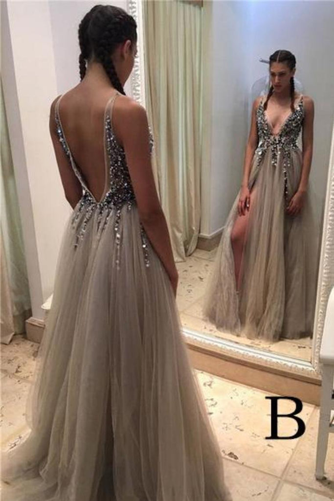 Pretty Deep V-Neck Long Beading Tulle A-Line Gray Prom Dresses