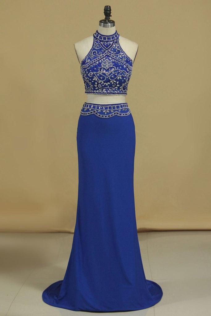Two Pieces High Neck Beaded Bodice Spandex Prom Dresses Dark Royal Blue