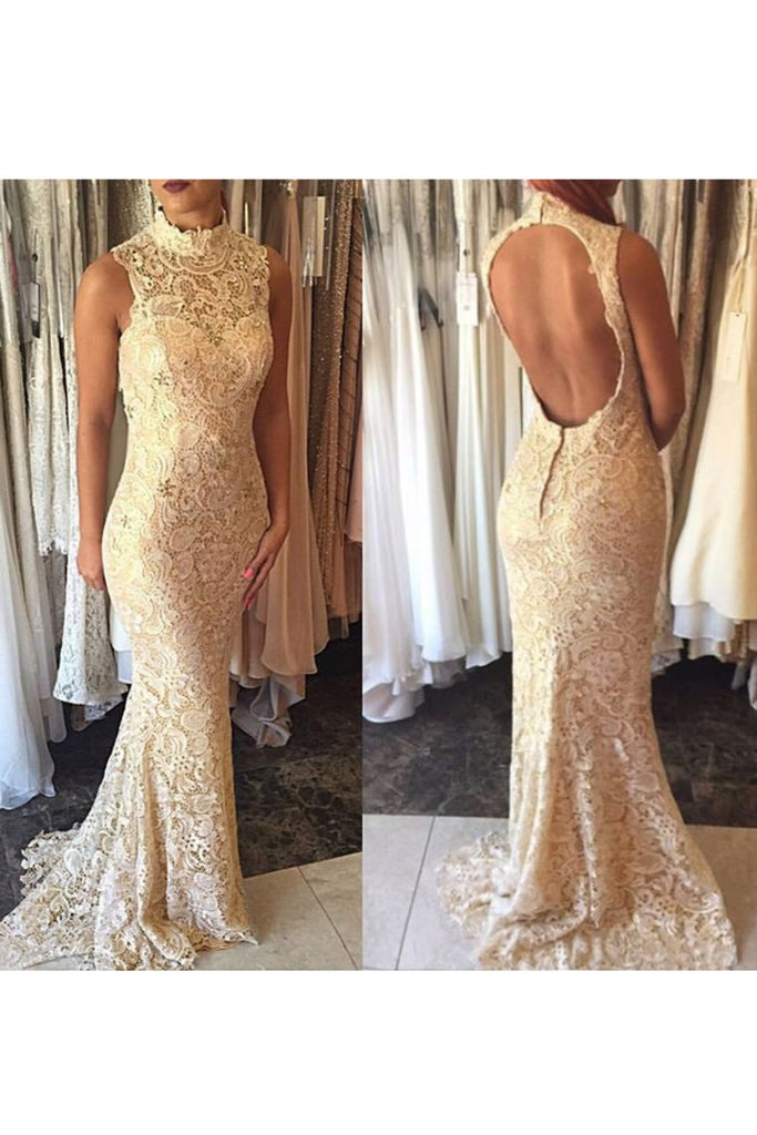 Evening Dresses High Neck Lace Mermaid Sweep Train Open Back