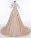 A-Line High Neck Beads Short Sleeve Lace Satin Evening Dress Prom Dresses UK JS513