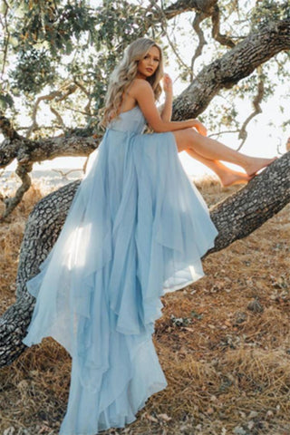 A Line Sky Blue Rustic Chiffon Deep V Neck Slit Prom Dresses Beach Wedding Dresses