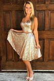 A-Line V-Neck Golden Sleeveless Knee-length Sequins Two Piece Homecoming Dresses JS747