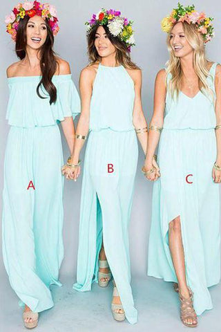 2019 Chiffon Cheap Long Pretty Young Mint Mismatched Side Split Bridesmaid Dresses JS317