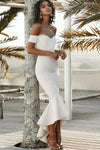 Mermaid Off the Shoulder Sweetheart Ivory Satin Open Back Ruffles Bridesmaid Dresses JS756