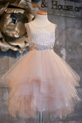 Blush Pink Flower Girl Dresses Cap Sleeve Asymmetric Tulle Lace Top Cute Dress for Kids JS99