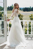 A Line Long Sleeve Deep V Neck Tulle Open Back Lace Appliques Wedding Dresses JS144