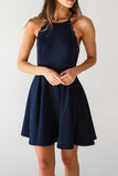 A Line Dark Navy Cute Halter High Neck Satin Short Homecoming Dress JS267