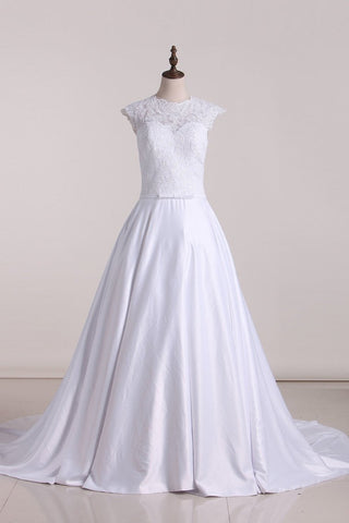 Wedding Dresses Scoop With Applique And Sash A Line Stretch Satin